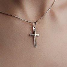 Золотой крестик комбинированного цвета Духовный щит