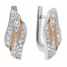 Серебряные серьги с золотыми вставками и цирконием Злата
