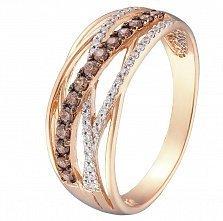 Кольцо в красном золоте Амината с коньячными и белыми фианитами