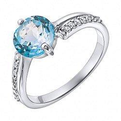 Серебряное кольцо с голубым топазом и фианитами 000137300
