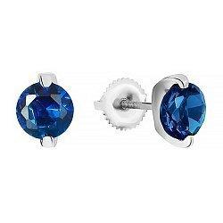Серебряные серьги с синими фианитами 000028986