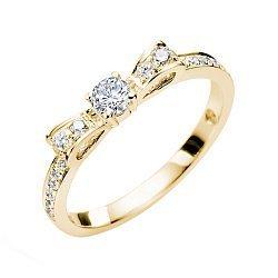 Золотое кольцо в желтом цвете с бриллиантами, 0,32ct 000070583