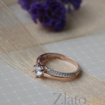Золотое кольцо Сицилия с фианитами 000022934