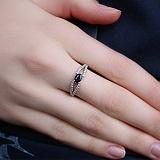 Серебряное кольцо с сапфиром и фианитами Барбарис