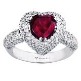 Золотое кольцо с рубином и бриллиантами Пламенное сердце