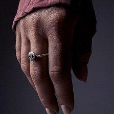 Cеребряное черненое кольцо Stupid head с черепом