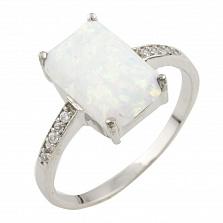 Серебряное кольцо Эльза с опалом и фианитами