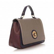 Кожаная деловая сумка Genuine Leather 7807 сине-серого цвета с бордовыми вставками
