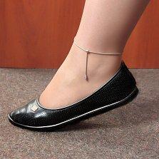 Серебряное браслет на ногу Тонда с подвеской с тремя шариками, 1мм