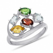 Серебряное кольцо Дафна с синтезированным рубином, цитрином, топазом и изумрудом