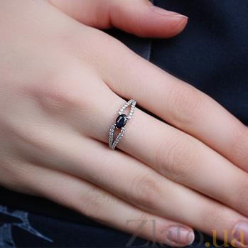 Серебряное кольцо с сапфиром и фианитами Барбарис 1625/9р сапф