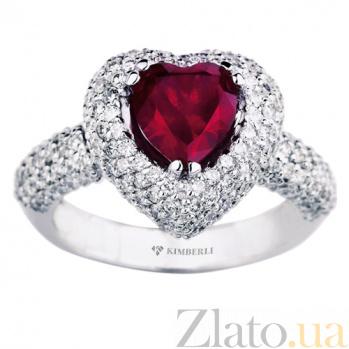 Золотое кольцо с рубином и бриллиантами Пламенное сердце KBL--К1591/бел/руб
