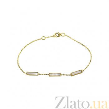 Браслет из желтого золота Карлотта с белым перламутром 000081306