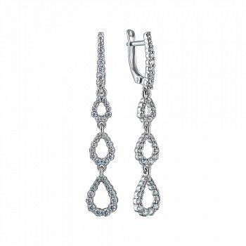 Серебряные серьги-подвески с фианитами 000150753