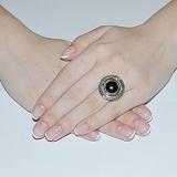 Серебряное кольцо Джоконда с золотой вставкой и ониксом