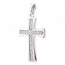 Серебряный крест Иоанна с фианитами