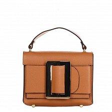 Кожаный клатч Genuine Leather 1683 коньячного цвета с короткой ручкой и декоративной пряжкой