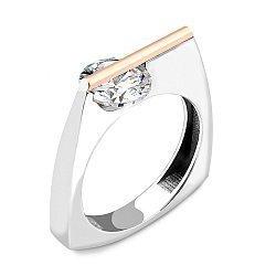 Серебряное кольцо с золотой накладкой, кристаллом циркония и родием 000067221