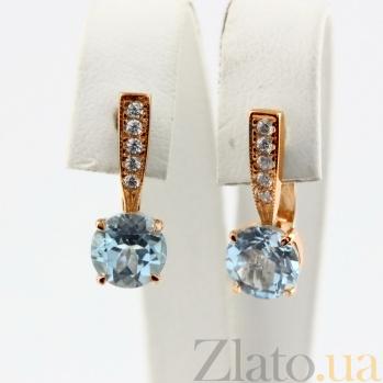Золотые серьги с голубым топазом и фианитами Беатриса 000024382