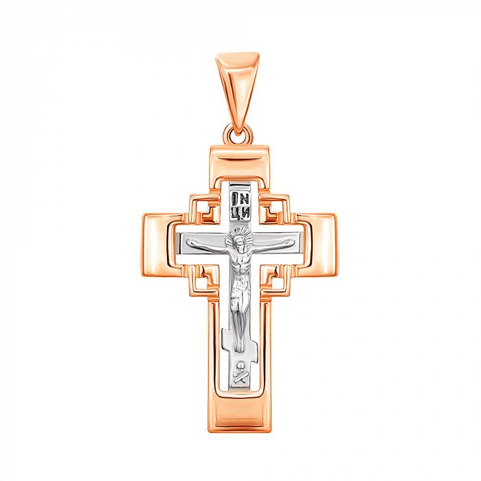Золотой крестик в комбинированном цвете 000137601 000137601