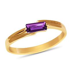 Золотое кольцо Шенон с синтезированым аметистом