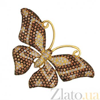 Золотая подвеска с фианитами Бабочка VLT--ТТ3367-1