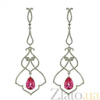 Золотые серьги с бриллиантами и турмалином Monograms ZMX--EDTur-00108w