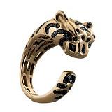 Золотое кольцо с бриллиантами и изумрудами Tiger
