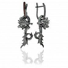 Серебряные серьги-трансформеры Царство дракона с красными фианитами