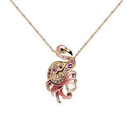 Золотое колье с кварцем, аметистом, бриллиантами, сапфирами и эмалью Фламинго Романтика бытия 000029