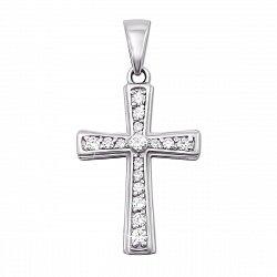 Декоративный крестик из белого золота с фианитами 000135121