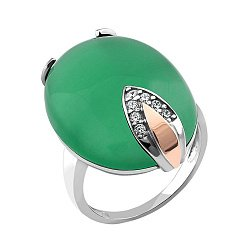 Серебряное кольцо с золотой накладкой, зеленым улекситом и фианитами 000066875