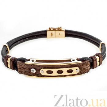 Кожаный браслет Алистер с золотом, эбеновым деревом и бриллиантом 000033558