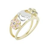 Золотое кольцо с аметистами и топазами Летний сад
