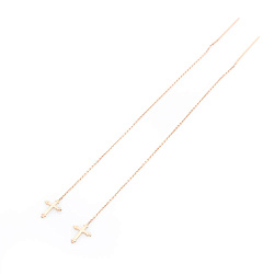 Золотые протяжки-крестики Блессинг в красном цвете металла