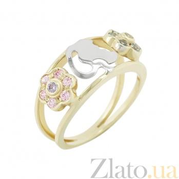 Золотое кольцо с аметистами и топазами Летний сад 2К138-0016