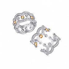 Серебряное кольцо-трансформер Корона с фианитами