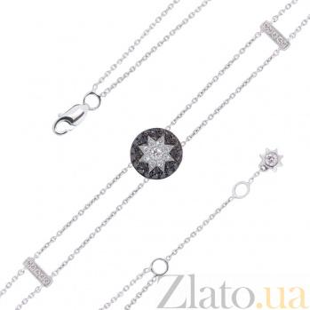 Браслет из белого золота Счастливая звезда белым и черными бриллиантами, лейкосапфиром 000080869