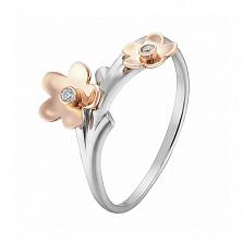 Кольцо в белом и розовом золоте Торения с фианитами