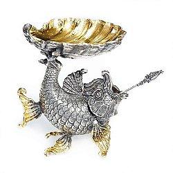 Серебряная икорница Мелюзина в форме рыбки с позолотой