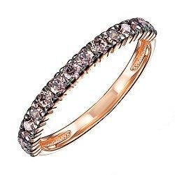 Кольцо из красного золота с фианитами и родированием 000138843