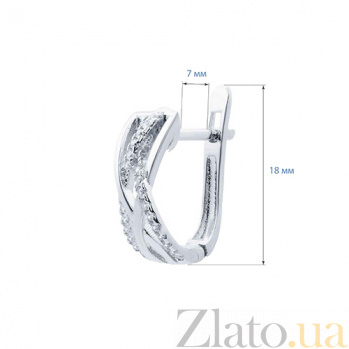 Серебряные серьги с фианитами Переплетение AQA-XJR-0095-E