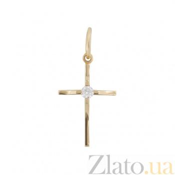 Золотой крестик с фианитом Добрая душа 000026588