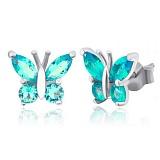 Серьги из серебра с голубыми фианитами Сверкающие крылышки