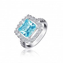 Серебряное кольцо Николь с голубым и прозрачными фианитами