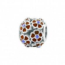 Серебряный шарм Летний шик с цветочками, красной эмалью и синими фианитами