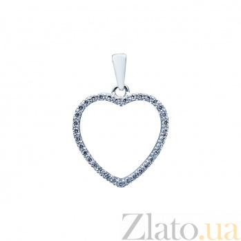 Серебряный кулон Сердце с фианитами 000027153