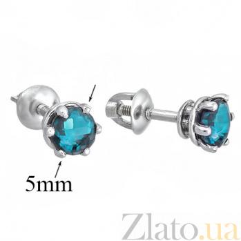Серебряные серьги-пуссеты c лондон-топазом Лея 2090/9р лонд.топаз4