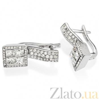 Серьги из белого золота с бриллиантами Элиза E 246х