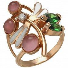 Кольцо в красном золоте Ротонда с улекситом, эмалью и фианитами в ассортименте